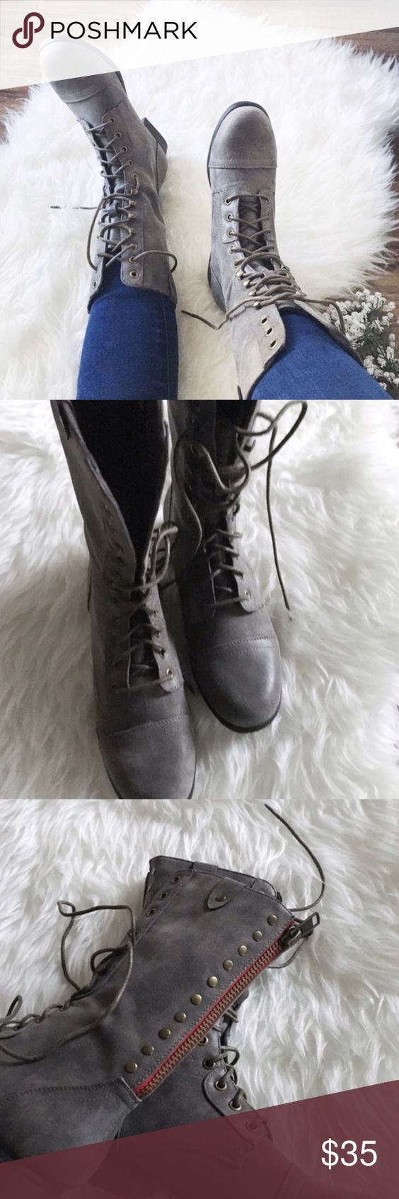 Nwob//madden girl • gray combat boots w/red zipper | Girls' shoes ...
