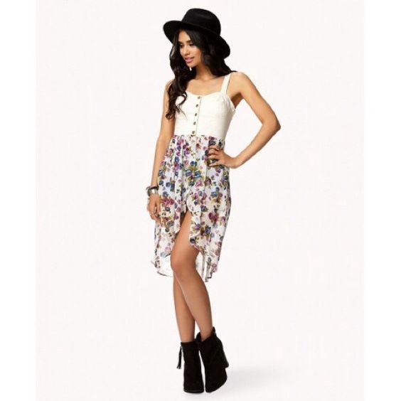 Floral Chiffon Denim Bustier Forever 21 cute floral dress in perfect condition   Forever 21 Dresses