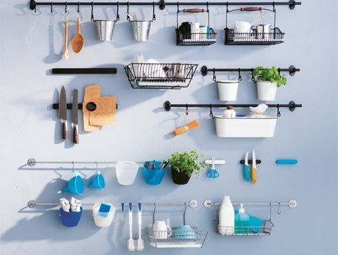 ikea kitchen wall storage system fintorp baskets hooks rails cutlery caddy pans ebay desk. Black Bedroom Furniture Sets. Home Design Ideas