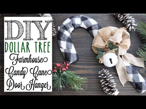 8 Diy Dollar Tree Farmhouse Candy Cane Door Hanger Youtube Dollar Tree Diy Dollar Tree Christmas Dollar Store Christmas