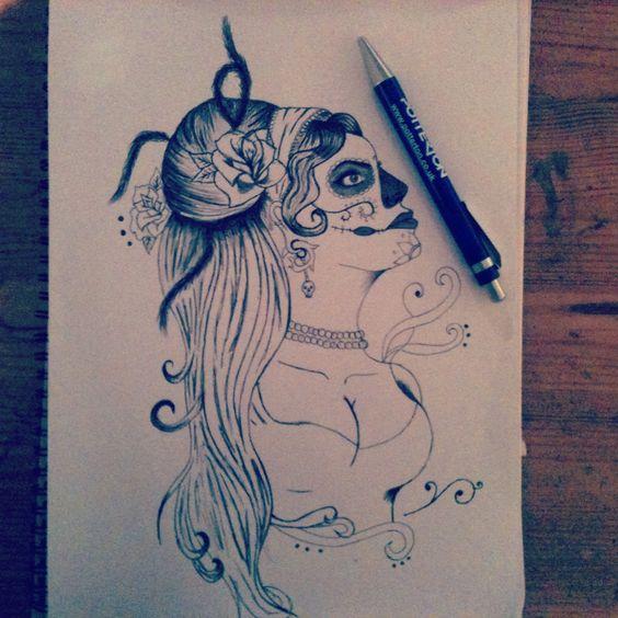 Tattoo designs Tattoo Day of the dead Design Woman Biro drawing Art Illustration