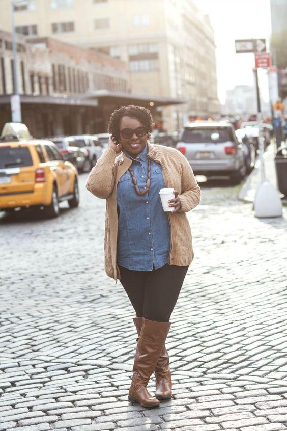 Plus Size Fashion - Talbots Denim Shirt Dress Wide Calf Boots