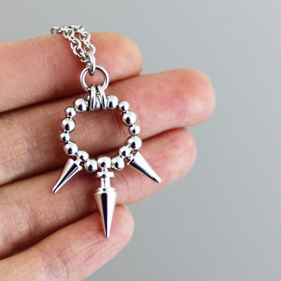 Cutie Spike Pendant Silver Chain Necklace  Small by productsof47