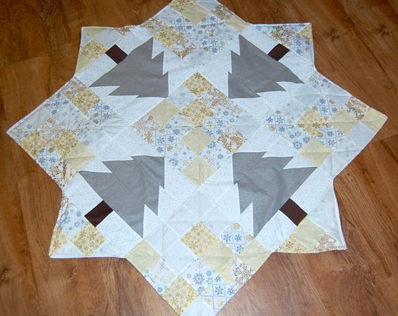 Silver and Gold Quilted Christmas Tree Skirt