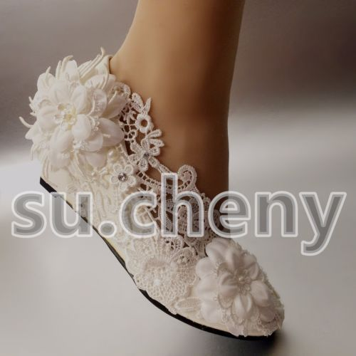 su.cheny Ivory white lace pearl Wedding flats heel wedge Wedding Bridal shoes