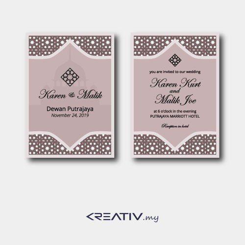 Premium Wedding Card With Islamic Pattern Background Kreativ My Kreativ Work Solutions Wedding Cards Wedding Background Patterns