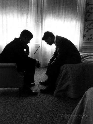 Jack Kennedy Conferring with His Brother and Campaign Organizer Bobby Kennedy in Hotel Suite Photographic Print by Hank Walker at AllPosters.com