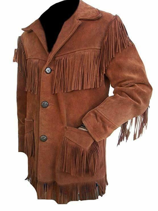 New Men/'s Native American Western Cowhide Suede Leather Jacket Coat