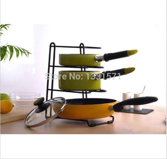 New Anti-skidding Iron Multi-Purpose Kitchen Storage Racks Organizer Pot Pan Cookware Lid  Chopping Block Pantry Rack Stand
