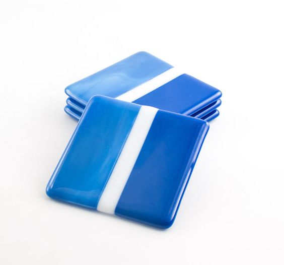Blue Coasters Fused Gl Square By Nostalgianmore