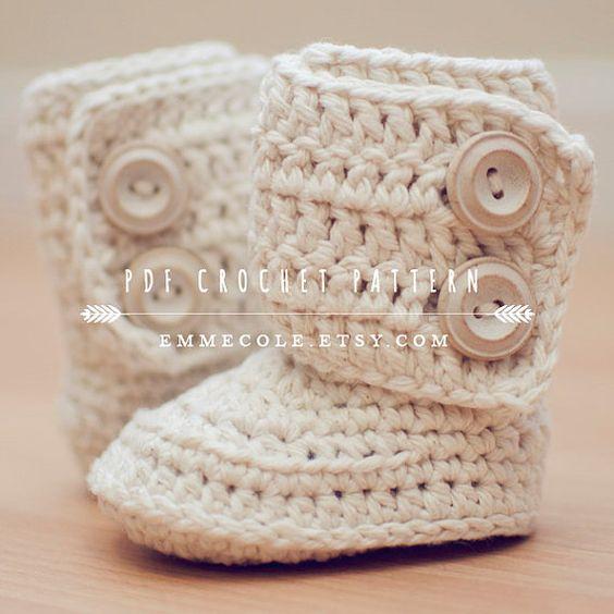 Crochet Pattern for Baby Boots Crochet Boot Pattern by EmmeCole