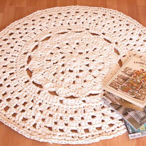 Patr n alfombra de ganchillo xxl con flor en el centro alfombras pinterest trapillo - Alfombras ganchillo trapillo ...