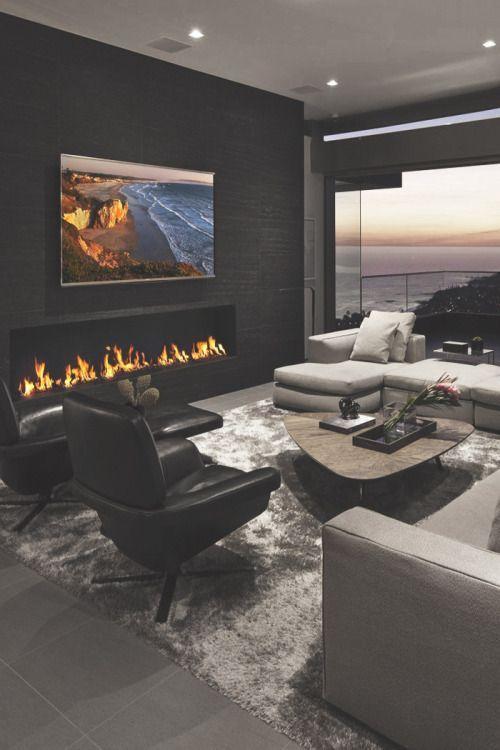 Living Room With Fireplace Design And Ideas That Will Warm You All Winter Décoration De Maison Contemporaine Déco Salon Aménagement Intérieur Maison