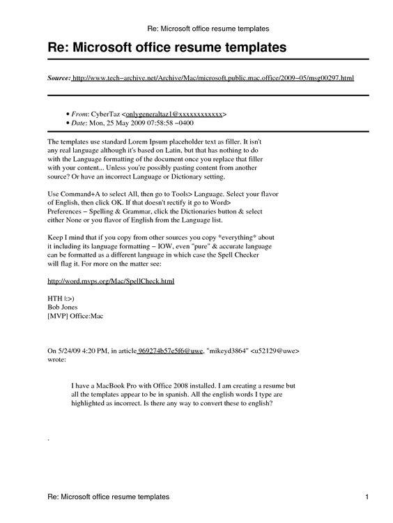 Microsoft Office Resume Template - http\/\/wwwresumecareerinfo - how do u spell resume