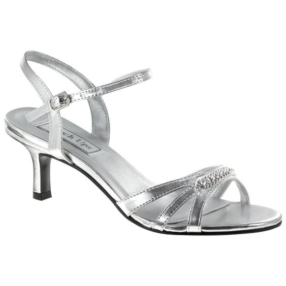 Silver Low Heel Dress Shoes | Diane Silver Strappy Low Heel Wide ...