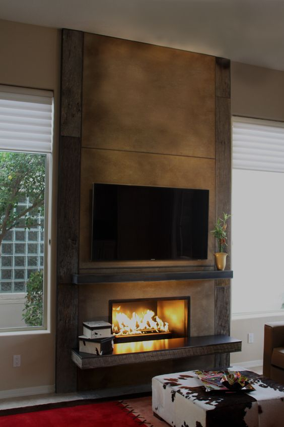 Tvs Reclaimed Wood Fireplace And Rustic Modern On Pinterest