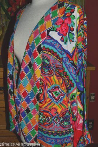CAROLE LITTLE Colorful Floral Mosaic Artsy GAUZE Austria Rayon Jacket USA Sz 4
