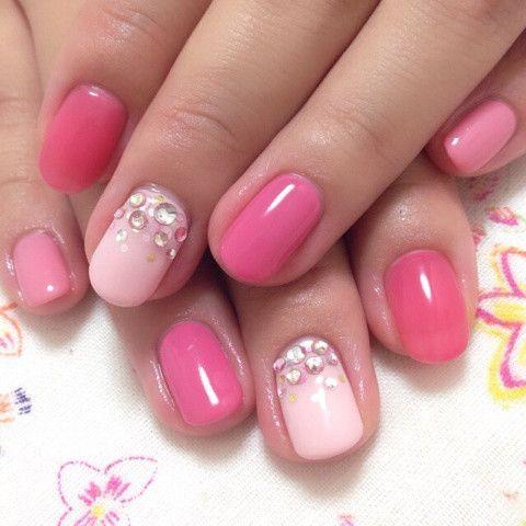 *5本色違いの、ピンクネイル の画像|埼玉 朝霞 ホームネイルサロン「nail bague(ネイルバーグ)」