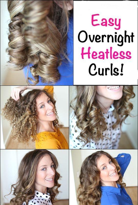 Easy Overnight Heatless Curls Hair Styles Heatless Curls Curl Hair Overnight