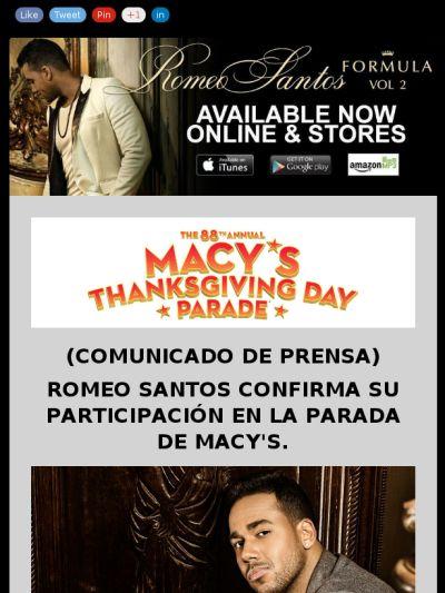 #ElReyDeLaBachata @romeosantospage #CONFIRMADO @macys #MacysParade en #NY 27 Nov.  https://madmimi.com/s/7eae75?o=tm @artistsolutions @bigtimemedia