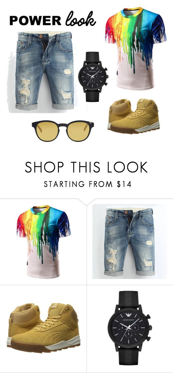 """Sem título #10"" by letybaby on Polyvore featuring Puma, Emporio Armani, Etnia Barcelona, men's fashion e menswear"
