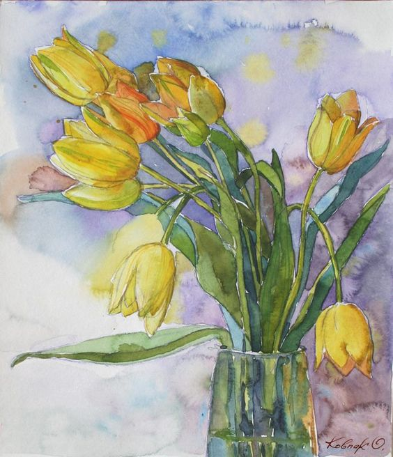 Olena Parfena.Жёлтые тюльпаны
