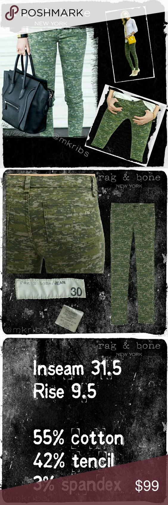 ⭐Sale!!   Rag & bone camo skinny stretch  jeans SALE PRICE Rag & bone pixelated, digital style camouflage skinny jeans with stretch. So fun and versatile. More details above. NO TRADES PLEASE! OFFERS WELCOME THROUGH OFFER FEATURE ONLY PLEASE! rag & bone Jeans Skinny