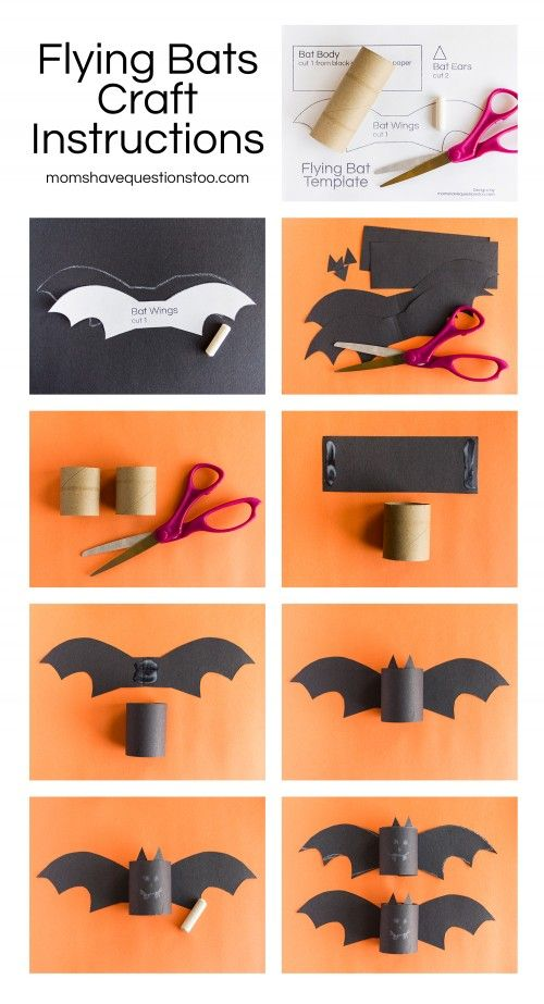 Halloween Craft Vampire Bat Toilet Paper Roll Completely Stripped And Clean Black Construction Chalk For The Face Scissors Glue