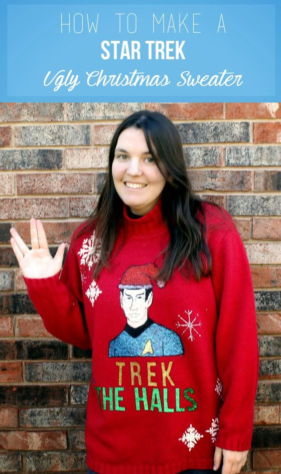 An ugly Christmas sweater for all you Trekkies out there! Easy to make, with a festive Mr Spock on the front!