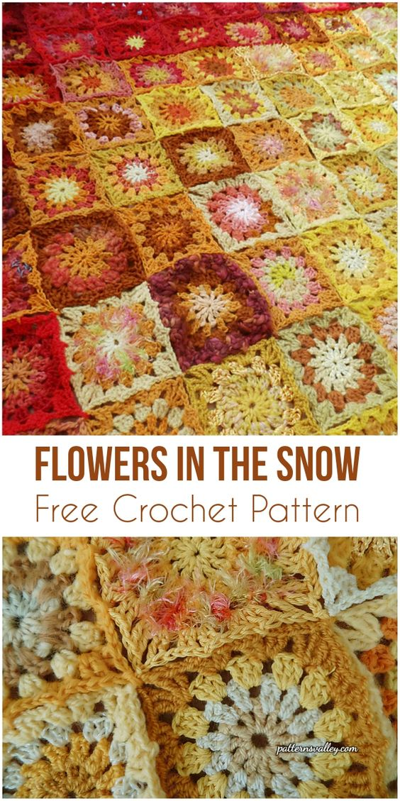 Flowers In The Snow [Free Crochet Pattern] #crochet #motif #flowers #freepattern #homemade #crochetlove