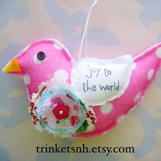 Felt Bird Christmas Ornament Joy to the World by trinketsnh, $5.95