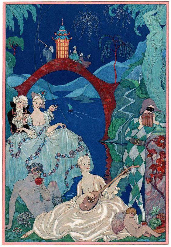 Georges Barbier (1882-1932) — 'Les Fêtes Galantes' by Paul Verlaine, 1928 (650×938):