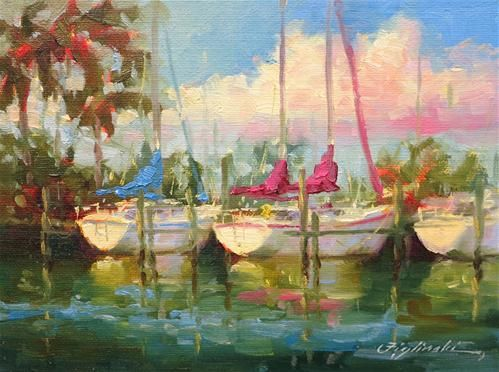 """Sailboats at St. Andrews Marina"" - Original Fine Art for Sale - © by Martin Figlinski"