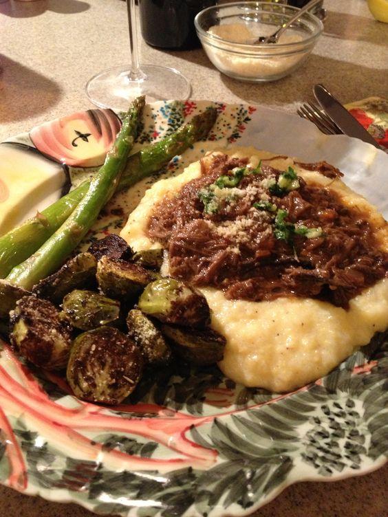Short Rib Ragu served over creamy polenta with roasted brussels ...