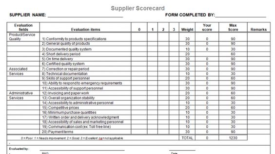 Supplier Evaluation Template For Microsoft Word  Templates