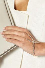 9-karat rose gold diamond finger bracelet
