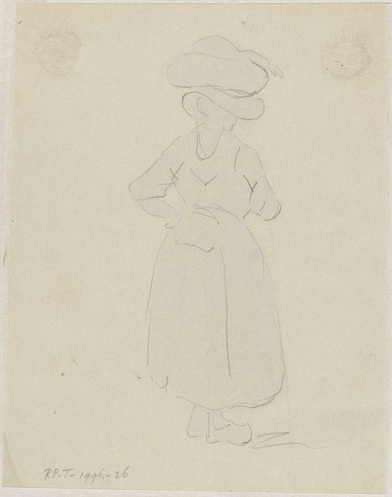 Adrianus Eversen | Schets van een vrouw met een mand op het hoofd, van achteren, Adrianus Eversen, 1828 - 1897 | Schets van een op de rug geziene staande vrouw met een mand met waar op het hoofd.