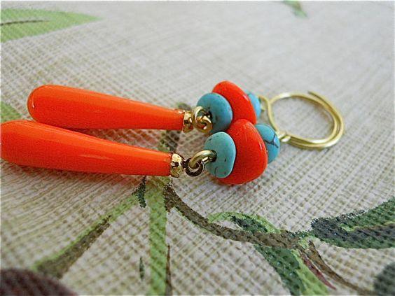 Vintage Czech Earrings Orange Glass Teardrops Summer by JoJosgems, $17.00