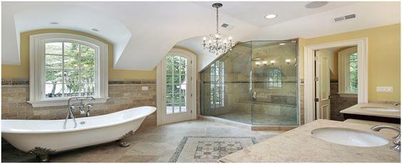 A fine designed bathroom with customized shower door