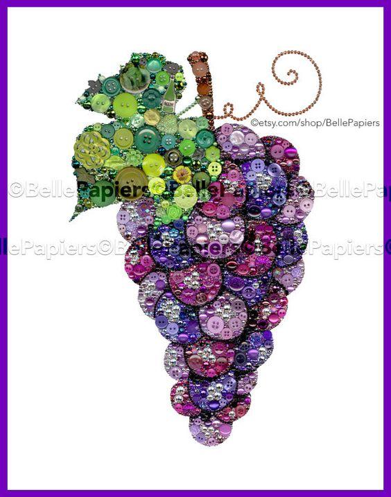 Botón de arte uva vid vino arte Swarovski y por BellePapiers