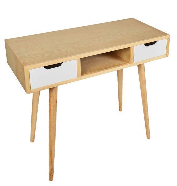 details zu design holz schreibtisch computer arbeitstisch sekret r konsole kiefer wei neu. Black Bedroom Furniture Sets. Home Design Ideas