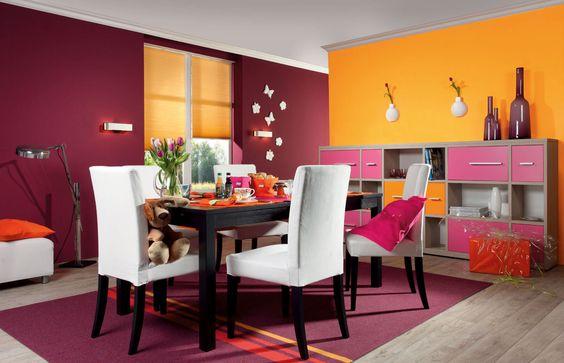 Kräftige Rot- und Orangetöne harmonieren hervorragend an der Wand!