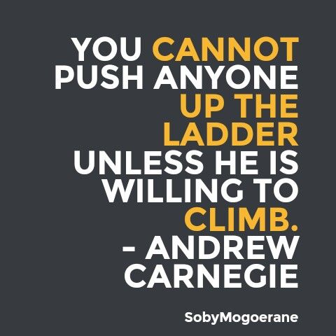 You Canu0027t Push Any One Up A Ladder Unless Heu0027s Willing To Climb A    The  The Ladders