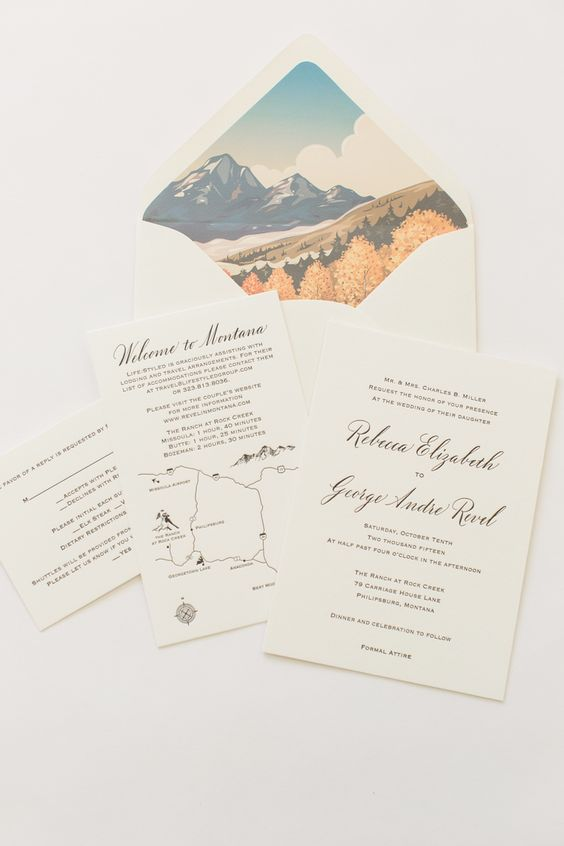 Yonder Design | Rock Creek, Montana Wedding, Mountain Wedding, Velvet Invitation, Custom Illustrations, Custom Event Design, Wedding Inspiration, Unique Invitations, Letterpress, Romantic Wedding, Rustic Wedding, Invitation Suite