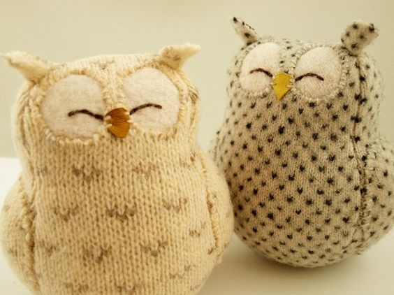 owls from leftover sweater pieces