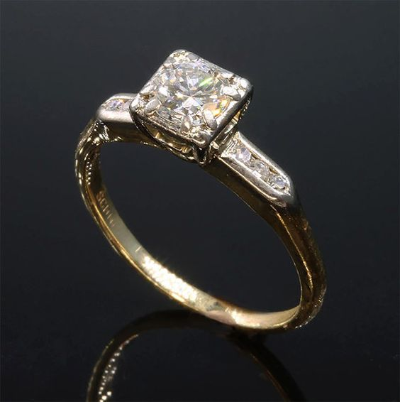 Vintage 14K Gold .75 tcw Diamond Engagement by CavalloFineJewelry