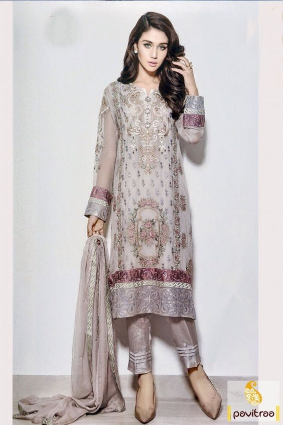 Buy new trendy off white grey santoon party wear suit online with