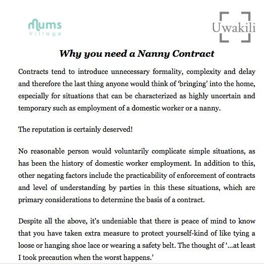 Nanny Contract Template  Nanny Contract And Parenting Advice