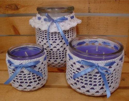 Thread Candle Holders Crochet Pattern