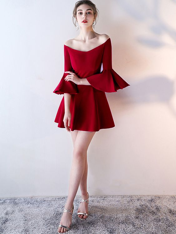 Wine Red Off The Shoulder Flared Mini Dress